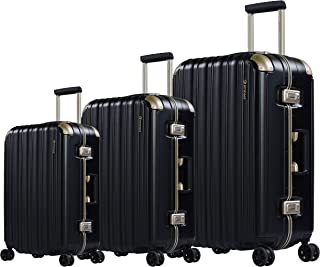 Eminent Hard Shell Lightweight Luggage Sets, Zipper Less with 4 Double Spinner Wheels, (20/24/28 Inches Suitcase Set, Blac...