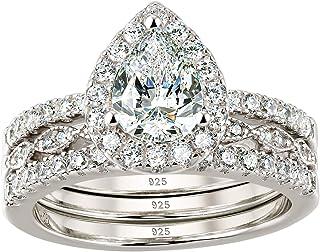 Wuziwen هالة الكمثرى قطع خاتم الزفاف تشيكوسلوفاكيا خواتم الخطوبة للنساء 925 فضة الاسترليني حجم 5-12