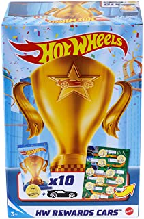 Hot Wheels Rewards Car Pack of 10 Individually Wrapped 1:64 Scale Die-Cast Vehicles in Opaque Bags with Gold Stickers, Rew...