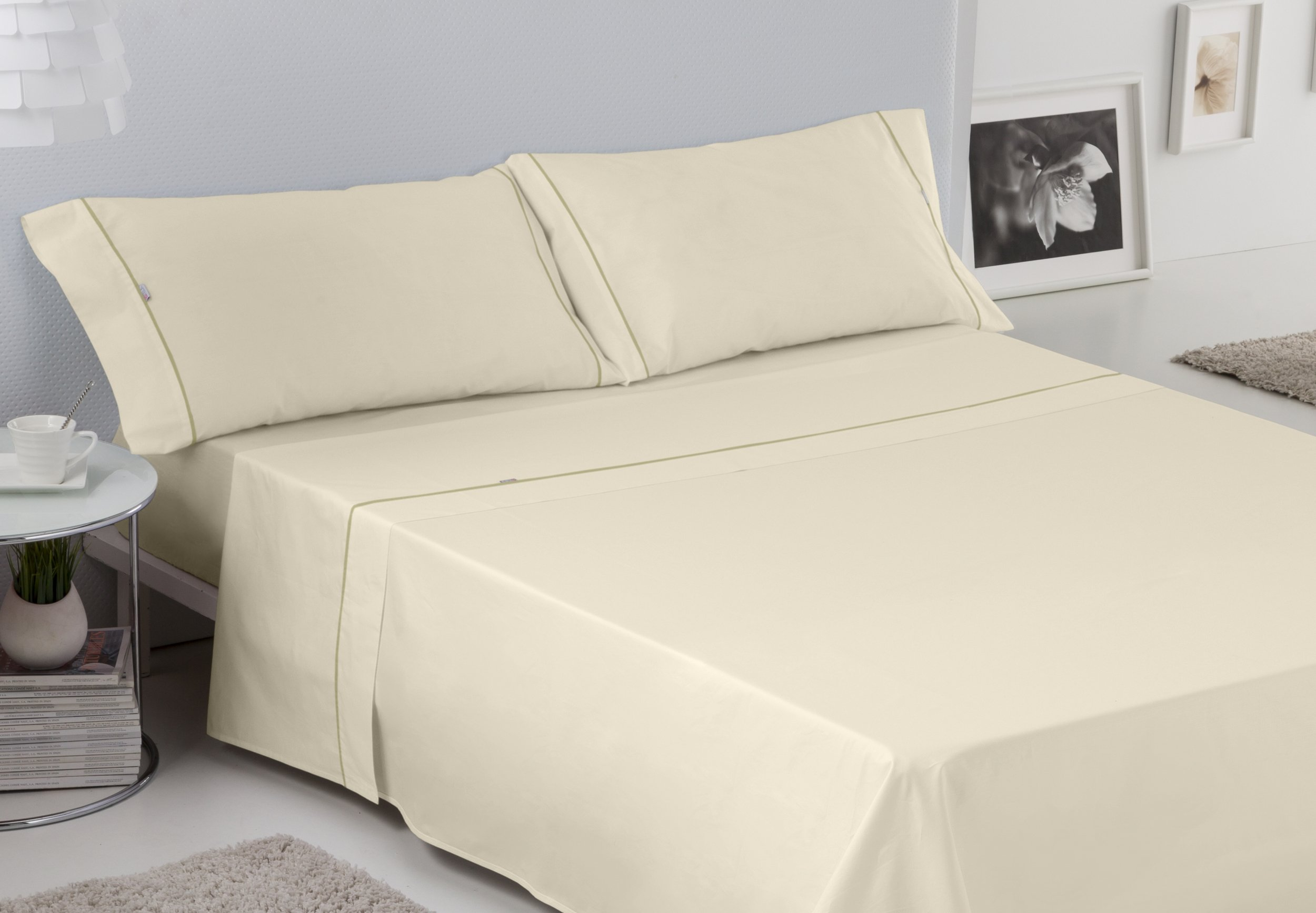 ESTELA - Juego de sábanas Lisos Cala con BIÉS Color Crema (4 Piezas) - Cama de 150 cm. - 100% Algodón - 144 Hilos: Amazon.es: Hogar