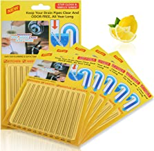 60 Pieces Drain Sticks Drain Cleaner Sticks Drain Deodorizer Sticks Non-Toxic for Kitchen, Bathroom and Laundry, 5 Sets (C...