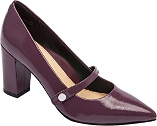 Flora   Pointy Toe Mary Jane Block Heel Vegan Pump Comfortable Insole Padded Arch Support (New Fall)