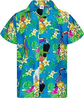 Camisa Hawaiana enrrollada Hombres XS-6XL Manga Corta Bolsillo Frontal Hawaiano-Imprimir Cacatúa Loro