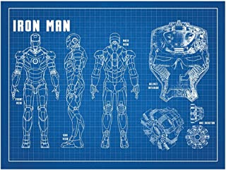 Inked and Screened Sci-Fi & Fantasy Design Art Poster Iron Man, Blue Grid/White Ink, 18