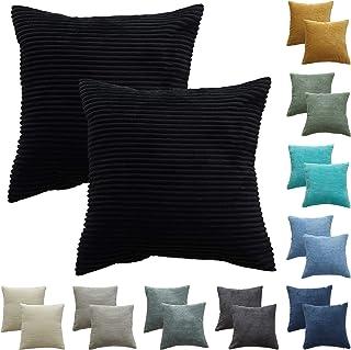 CALIYO Funda Cojin 45 * 45 cm Juego de 2, Fundas Cojines de Pana se Utilizan para Cojines Decorativos para Sofa, Cojines Sofa, Cojines, Fundas de Cojines en Muchos Colores (Negro-2piezas, 45 * 45cm)