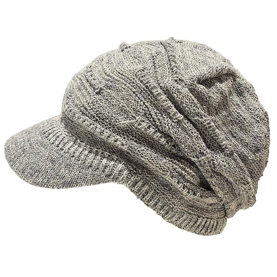 キャッシュパパ北方つば付き サマーニット帽 清涼 通気性 ギャザーニット帽 医療用帽子 綿100% 医療用 ケア帽子 春 夏 抗がん剤 脱毛 選べるカラーバリエーション