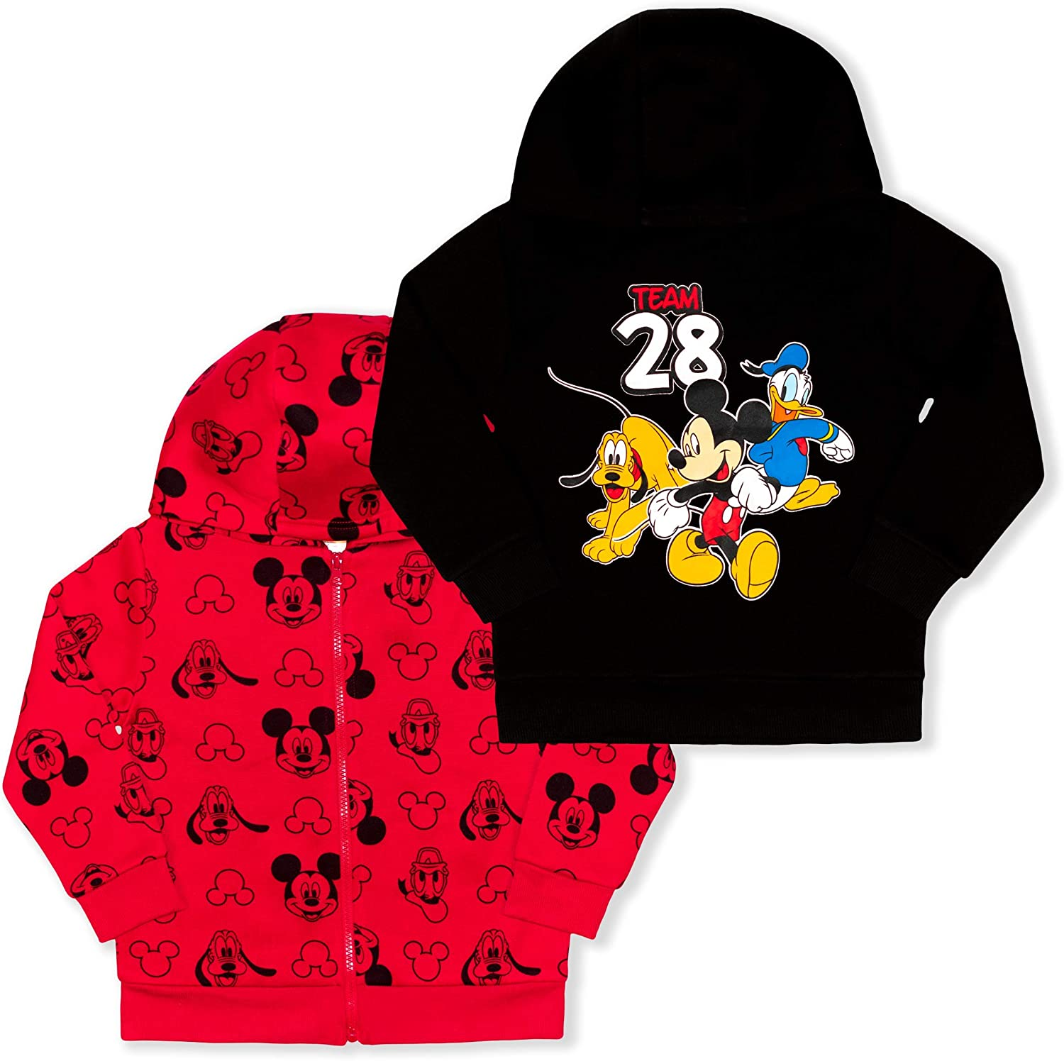 Disney Boy's Mickey and Friends Pullover Hoodie and Full Zip Hooded Jacket