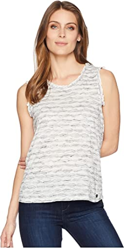 Sleeveless Printed Top with Open Hem