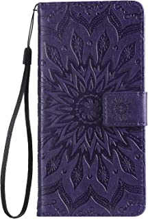 IKASEFU Compatible with MOTO E6 Case Emboss Sun mandala Floral Pu Leather Wallet Strap Case Card Slots Shockproof Magnetic Stand Feature Folio Flip Book Cover Protective Case,Purple