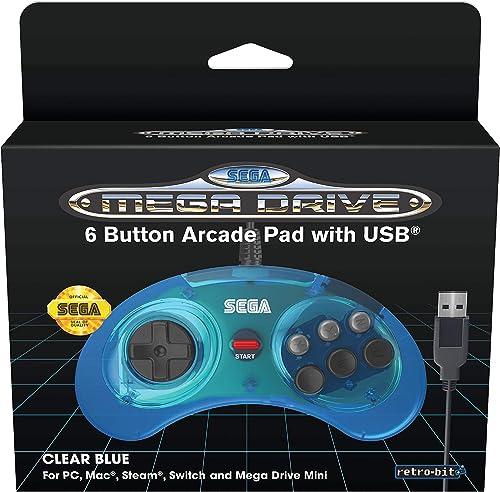 Retrobit - Manette Officielle SEGA Mega Drive Mini 6-boutons USB - Bleue