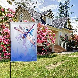أعلام حديقة جميلة أزرق أرجواني اليعسوب 71.12 × 101.6 سم حيوانات مائية أعلام المنزل خارج المنزل لافتات ديكور الفناء