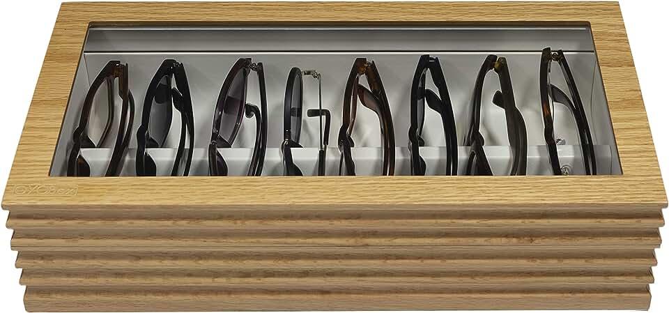 Maxi & Mini Luxury Eyewear Organizer, Lacquered Wood Box for Multiple Glasses + Sunglasses, Wave Collection (Honey Oak Maxi)