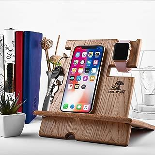 Wooden Phone Stand | 100% Natural Solid Oak | Phone Charging Dock | Tablet Holder | Watch Stand | Desk Organizer: Pen, Keys, Coins, Glasses, Wallet, Earphones | Best Gift Idea (Harvest Wheat)