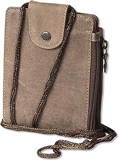 Woodland Multibag 3 in 1: Geldbörse - Brustbeutel - Gürteltasche, alles in einem! Aus weichem, naturbelassenem Büffelleder in Dunkelbraun/Taupe