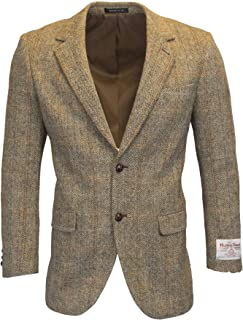 Walker & Hawkes - Mens Classic Scottish Harris Tweed Herringbone Overcheck Country Blazer Jacket - White Sand - 38-48