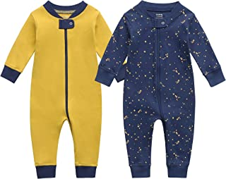Owlivia Organic Cotton Baby Boy Girl Zip Up Sleep N Play, Footless Baby Romper, Long Sleeve Baby Pyjama (Size newborn-24 M...