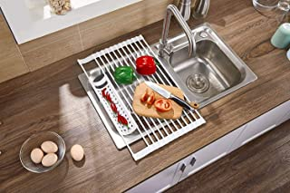 Over the Sink Roll-Up Dish Drying Rack & Trivet - Large 20.5''x12.6''. Multipurposes Foldable Kitchen Rollup Drainer Mat Silicone-coated Stainless Steel Vegies Rack Heat Resistant/Gray
