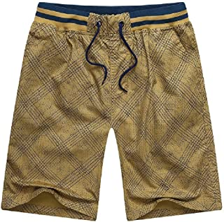 RkBaoye Mens Simple Drawstring Plaid Regular Fit Cotton Short Pants