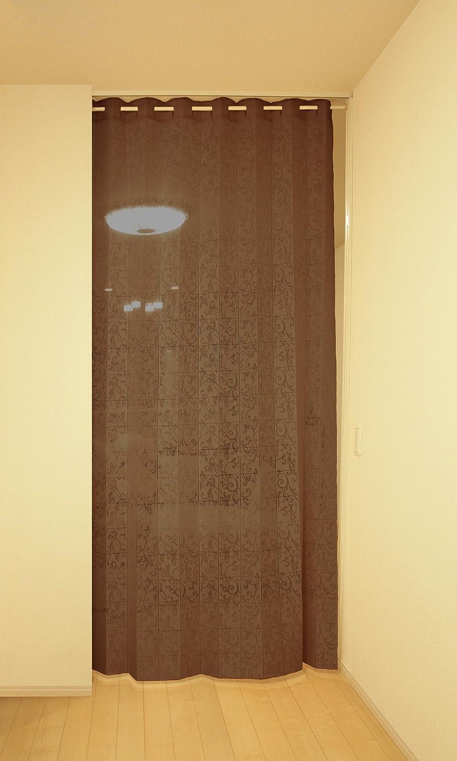 時計回りレディ軍隊アコーディオン カーテン 間仕切り のれん 目隠し 遮熱 冷気遮断 アラベスク 150×250cm丈(ブラウン)