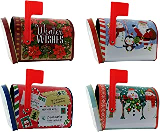 Christmas Storage Tins for Gifts, Candy, or Cookies Containers (Set of 4) | Small Empty Mail Box Shape Size Tins
