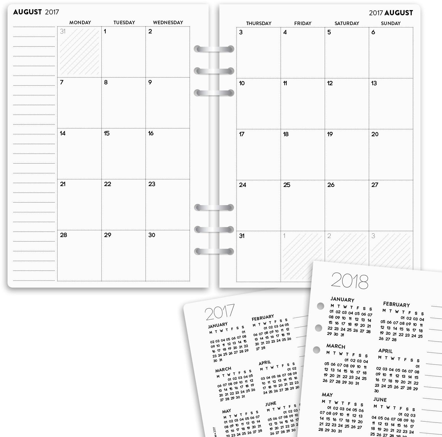Calendario planificador para año académico 2017 – 2018, mensual, dos páginas que se pueden insertar en cualquier agenda escolar, compatible con Filo fax NBplanner, inglés, A5, color blanco: Amazon.es: Oficina y papelería