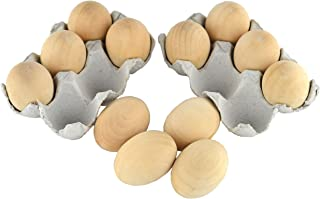 Samyo Unpainted Wooden Eggs for Easter, Spring Crafts, and Displays 2- 1/2 Inches x 1- 3/4 Inches (Pack of 12)