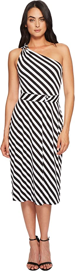 MICHAEL Michael Kors - One Shoulder Striped Dress