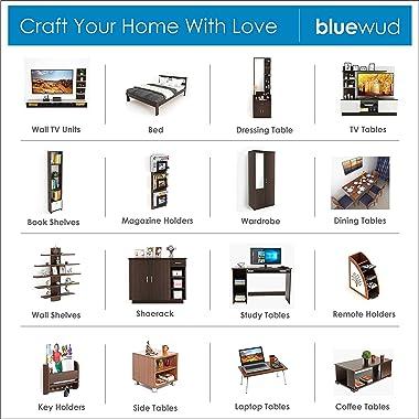 BLUEWUD Alex Engineered Wood Wall Book Shelf Home Decor Display Shelf ,Matte Finish,Set Of 12,Walnut