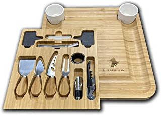 Urorra Bamboo Charcuterie, Cheese Board and Knife Set with Wine Accessories, Large Meat and Cheese Platter with Hidden Mag...
