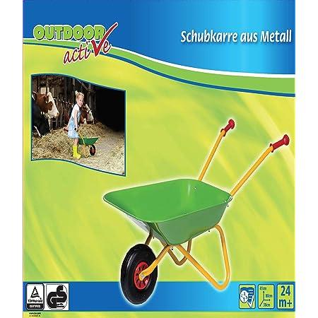 The Toy Company 13387 - Carretilla de metal de juguete color verde-amarillo [Importado de Alemania]