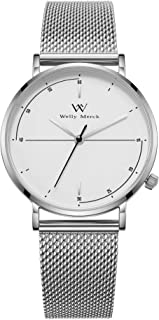 Welly Merck Dress Watch for Women 36MM Minimalist Swiss Quartz Sapphire Crystal Stainless Steel Analog Wrist Watch Custom Engraved Watches for Women.