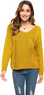 Romanstii Women's Long Sleeve V Neck Sweater Casual Loose Knit Sweater Slit Pocket Pullover Tops