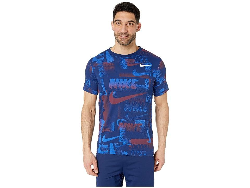 Nike Dry Tee Dri-FITtm Cotton Chalk All Over Print (Game Royal/White) Men