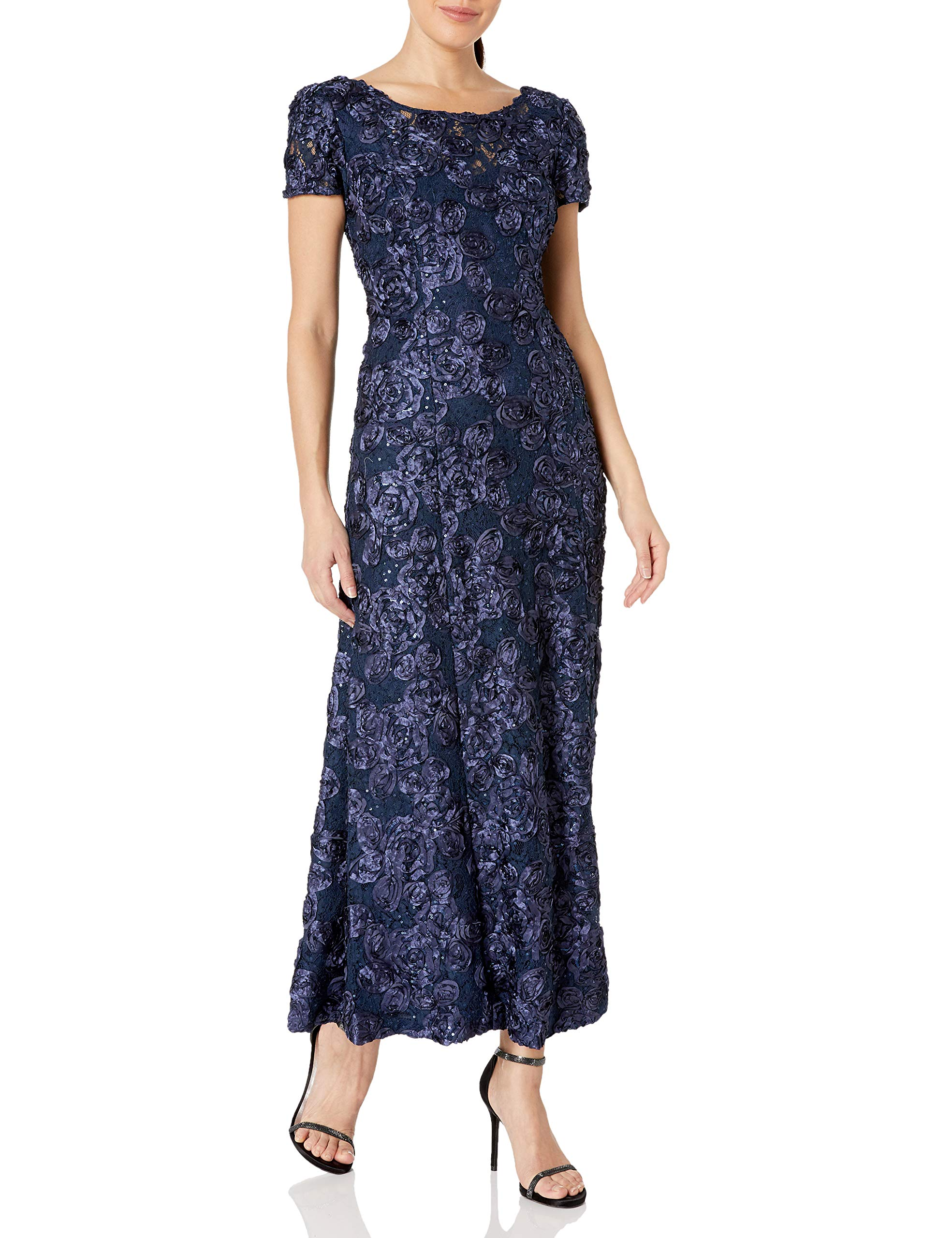 Mother Of The Bride Dresses - Women's Long A-Line Rosette Dress With Short Sleeves Sequin Detail