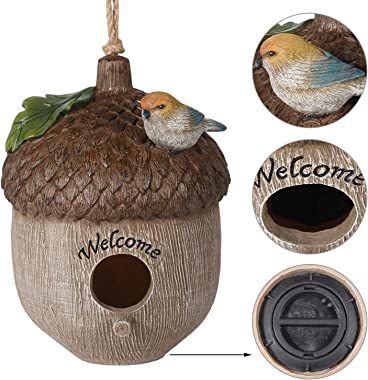 Tenforie Bird House for Outside, Hanging Natural Bird Nest, Resting Place for Birds, Bluebird House Handcrafted Hut - Pinecon