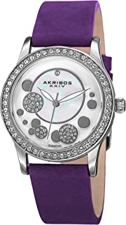 Akribos XXIV Ornate Womens Casual Watch - Mother of Pearl Center Dial - Quartz Movement - Crystal Filled Bezel - Suede Leather Strap - AK843
