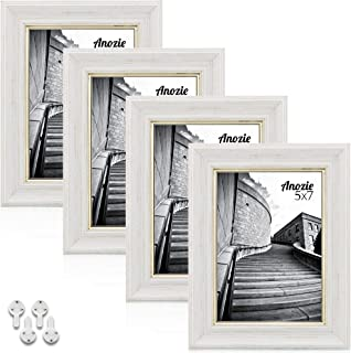 Anozie 5X7 Picture Frames(4 Pack, Whitewashed) Elegant Design Photo Frame Set with HD Real Glass for Tabletop or Wall Moun...