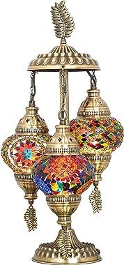 DEMMEX 2019 Stunning 3 Globe Turkish Moroccan Bohemian Table Desk Bedside Night Lamp Light Lampshade with North American Plug