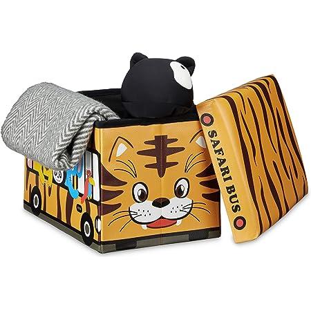 Relaxdays Coffre à jouets similicuir boîte à jouets couvercle tabouret pouf enfant pliable H x l x P: 32 x 48 x 32 cm capacité 37 L, bus safari