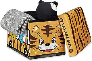 Relaxdays Coffre à jouets similicuir boîte à jouets couvercle tabouret pouf enfant pliable H x l x P: 32 x 48 x 32 cm capa...