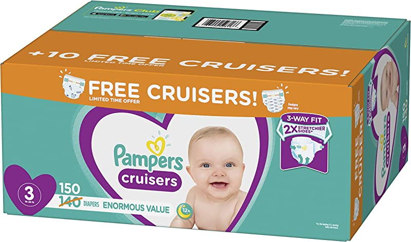 Diapers Size 3 150 Count Pampers Cruisers Disposable Baby Diapers Enormous Pack Plus Bonus Diapers