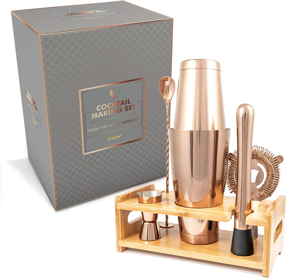 FABV Cocktail Making Set - Gift Ready Cocktail Making Set with Recipe Book - Luxury Rose Copper Cocktail Set with Stand and Boston Cocktail Shaker - Full Bartender Kit for Home & Bar