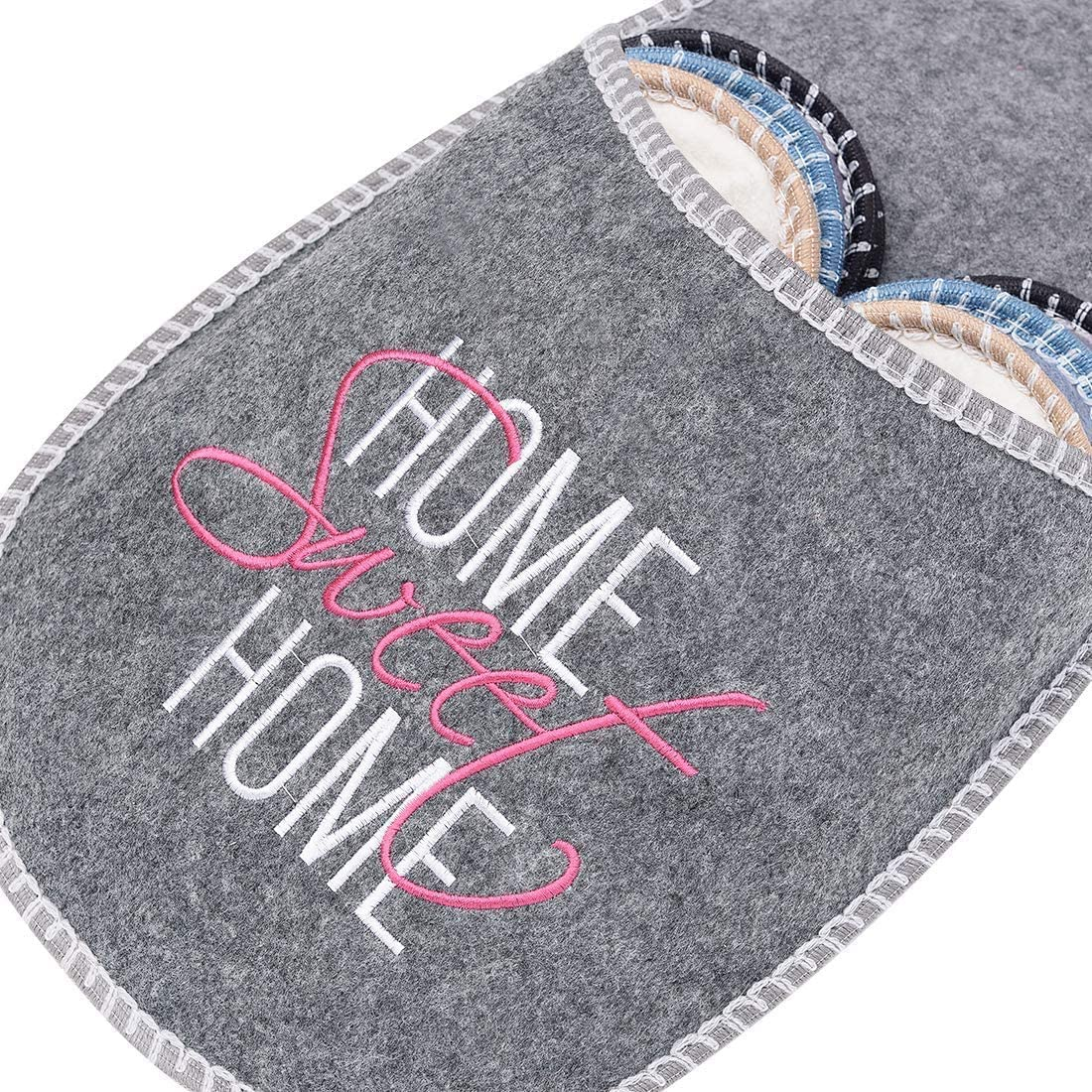 SLIPPERTREND Fleece Felt Close Toe 6 Pairs Home Sweet Home Indoor Family House Guest Slippers Set for Shoeless Home Grey