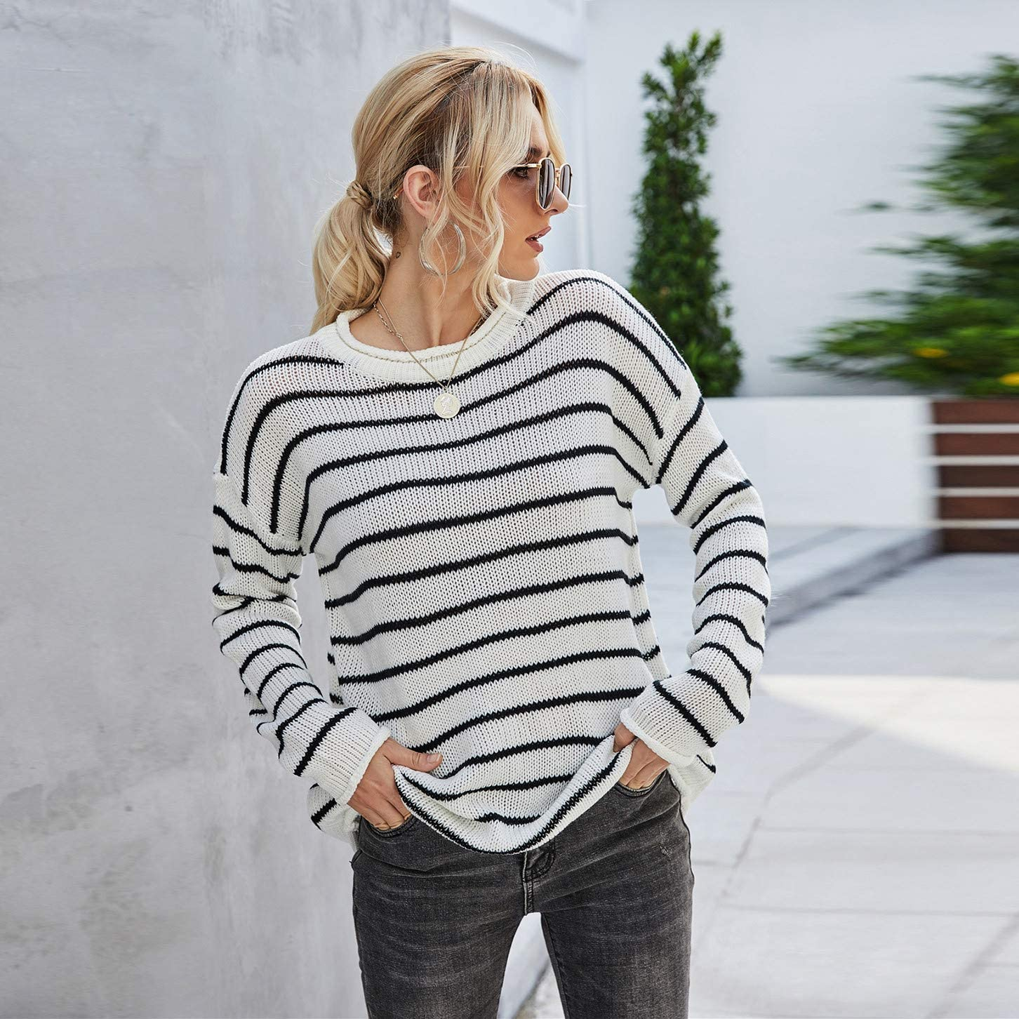 RiamxwR Pocciol Women's Casual Long Sleeve Sweater Crew Neck Striped Stitching Knit Pullover Thin Sweater Loose Outerwear