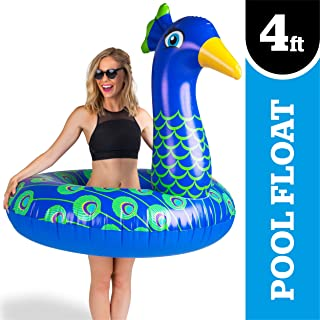 BigMouth Inc Giant Peacock Pool Float, 4 Foot Wide Innertube, Funny Inflatable Vinyl Summer Pool or Beach Toy, Patch Kit Included