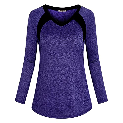 b9a720757cfe06 Hibelle Women's Long Sleeve Activewear Yoga Running Workout T-Shirt Tops  Blue