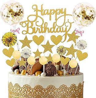 YUQIN 25 pièces Décorations de gâteau d'anniversaire,Gâteau Anniversaire Topper,Decoration Gateau Anniversaire Fille,Decor...