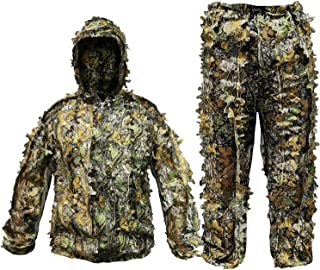POWLIFE Ghillie Suit Camouflage Hunting Suits Outdoor 3D...