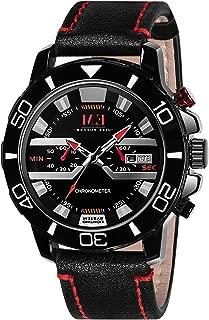 Menton Ezil Men's Sport Watch Dual Time Leather Strap Analog Quartz Waterproof Watches Auto Calendar Wrist Watch, Gift for Men