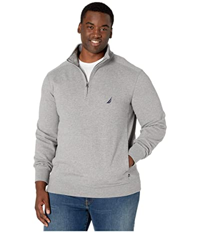 Nautica Big & Tall Big Tall Fleece Basic 1/4 Zip (Stone Grey Heather) Men